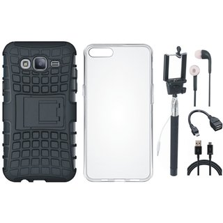 Samsung J7 Max Shockproof Tough Armour Defender Case with Silicon Back Cover, Selfie Stick, Earphones, OTG Cable and USB Cable