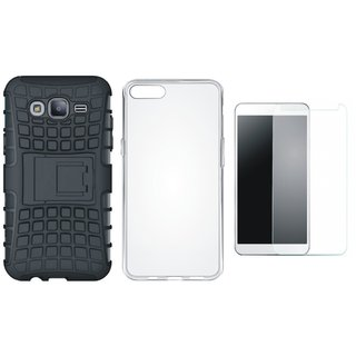 Oppo F5 Shockproof Tough Defender Cover with Silicon Back Cover, Tempered Glass