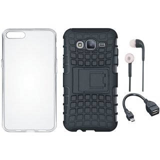 Samsung J7 Max Shockproof Tough Armour Defender Case with Silicon Back Cover, Earphones and OTG Cable