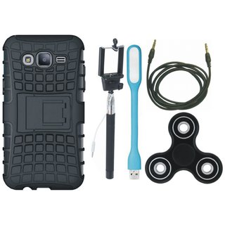 Oppo F5 Shockproof Tough Defender Cover with Spinner, Selfie Stick, USB LED Light and AUX Cable