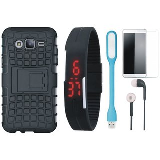 Samsung J7 Max Shockproof Tough Armour Defender Case with Free Digital LED Watch, Tempered Glass, LED Light and Earphones