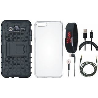 Samsung J7 Max Shockproof Tough Armour Defender Case with Silicon Back Cover, Digital Watch, Earphones, USB Cable and AUX Cable