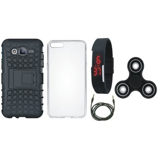 Moto G5 Plus Shockproof Tough Armour Defender Case with Spinner, Silicon Back Cover, Digital Watch and AUX Cable