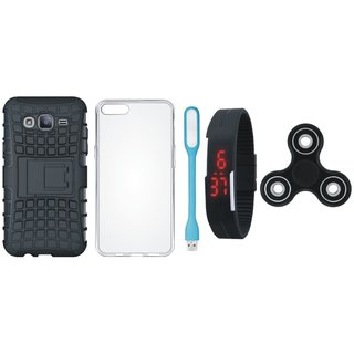 Samsung J7 Max Shockproof Tough Armour Defender Case with Spinner, Silicon Back Cover, Digital Watch and USB LED Light