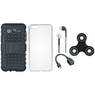 Samsung J7 Max Shockproof Tough Armour Defender Case with Spinner, Silicon Back Cover, Earphones and OTG Cable