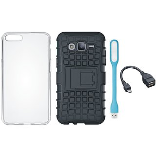 Moto G5 Plus Shockproof Kick Stand Defender Back Cover with Silicon Back Cover, USB LED Light and OTG Cable