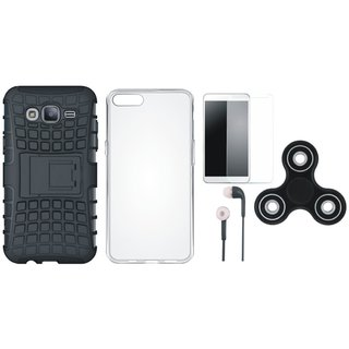 Samsung J7 Max Shockproof Tough Armour Defender Case with Spinner, Silicon Back Cover, Tempered Glass and Earphones