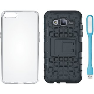 OnePlus 3T Shockproof Tough Armour Defender Case with Silicon Back Cover, USB LED Light