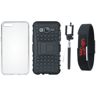 Moto G5 Plus Shockproof Kick Stand Defender Back Cover with Silicon Back Cover, Selfie Stick and Digtal Watch