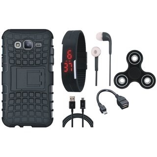 Moto G5 Plus Shockproof Kick Stand Defender Back Cover with Spinner, Digital Watch, Earphones, OTG Cable and USB Cable
