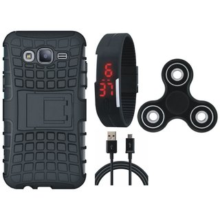 Samsung J7 Max Dual Protection Defender Back Case with Spinner, Digital Watch and USB Cable