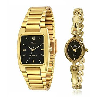 HWT Rectangle And Oval Black Dail Golden Metal Couple Watches Combo