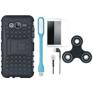 Vivo V9 Dual Protection Defender Back Case with Spinner, Tempered Glass, Earphones and USB LED Light