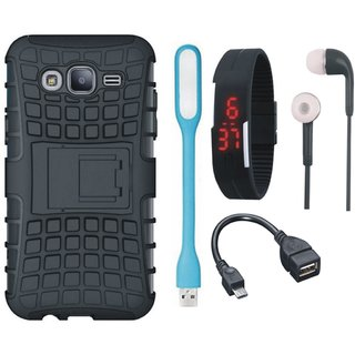 Samsung C7 Pro Defender Tough Armour Shockproof Cover with Digital Watch, Earphones, USB LED Light and OTG Cable