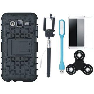 Vivo V9 Dual Protection Defender Back Case with Free Spinner, Selfie Stick, Tempered Glass, and LED Light