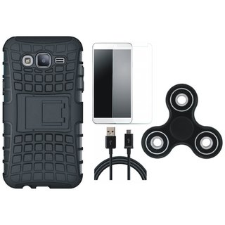 OnePlus 3T Shockproof Tough Defender Cover with Spinner, Tempered Glass and USB Cable