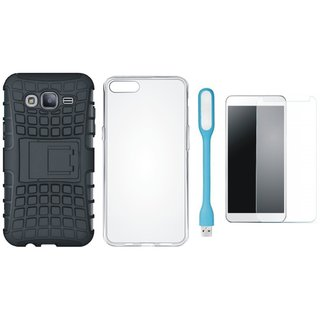 Samsung C7 Pro Defender Tough Armour Shockproof Cover with Silicon Back Cover, Tempered Glas and USB LED Light