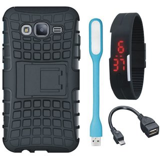 Vivo V9 Defender Back Cover with Kick Stand with Digital Watch, OTG Cable and USB LED Light