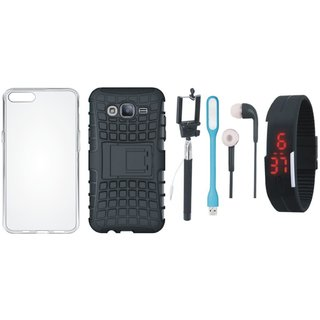 OnePlus 5 Shockproof Tough Armour Defender Case with Silicon Back Cover, Selfie Stick, Digtal Watch, Earphones and USB LED Light
