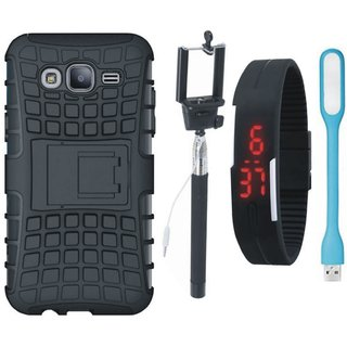 Vivo V9 Defender Back Cover with Kick Stand with Selfie Stick, Digtal Watch and USB LED Light