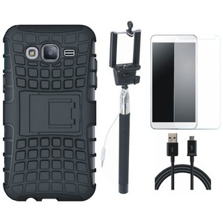 Samsung C7 Pro Defender Tough Armour Shockproof Cover with Free Selfie Stick, Tempered Glass and USB Cable