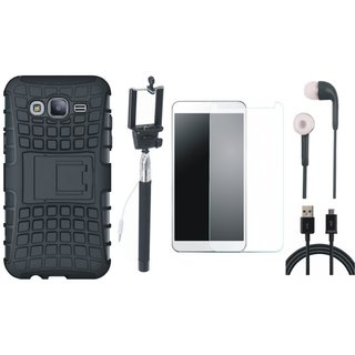 Samsung C7 Pro Defender Tough Armour Shockproof Cover with Free Selfie Stick, Tempered Glass, Earphones and USB Cable