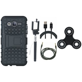 OnePlus 5 Shockproof Tough Armour Defender Case with Spinner, Selfie Stick, USB Cable and AUX Cable