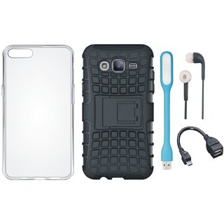 Samsung C7 Pro Defender Tough Armour Shockproof Cover with Silicon Back Cover, Earphones, USB LED Light and OTG Cable