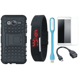 Samsung C7 Pro Defender Tough Armour Shockproof Cover with Free Digital LED Watch, Tempered Glass, LED Light and OTG Cable