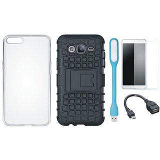 Samsung C7 Pro Defender Tough Armour Shockproof Cover with Silicon Back Cover, Tempered Glass, USB LED Light and OTG Cable