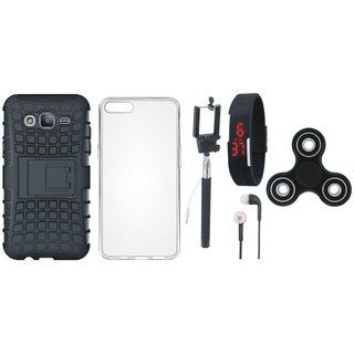 Vivo V9 Dual Protection Defender Back Case with Spinner, Silicon Back Cover, Selfie Stick, Digtal Watch and Earphones