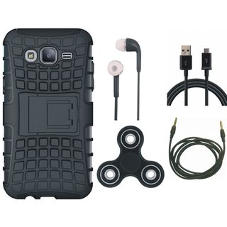 Samsung C7 Pro Defender Tough Armour Shockproof Cover with Spinner, Earphones, USB Cable and AUX Cable