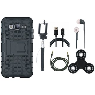 OnePlus 3T Shockproof Tough Defender Cover with Spinner, Selfie Stick, Earphones, USB Cable and AUX Cable