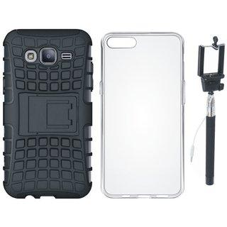 Vivo V9 Shockproof Tough Defender Cover with Silicon Back Cover, Free Silicon Back Cover and Selfie Stick