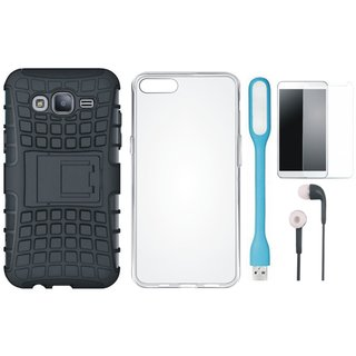 Vivo V9 Shockproof Tough Defender Cover with Silicon Back Cover, Tempered Glass, Earphones and USB LED Light