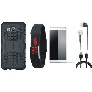 Vivo V9 Shockproof Tough Defender Cover with Free Digital LED Watch, Tempered Glass, Earphones and USB Cable