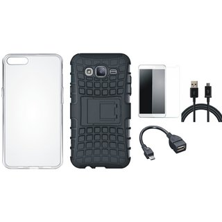 Vivo V9 Shockproof Tough Defender Cover with Silicon Back Cover, Tempered Glass, OTG Cable and USB Cable