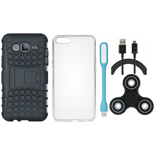 Vivo V5 Defender Tough Hybrid Shockproof Cover with Spinner, Silicon Back Cover, USB LED Light and USB Cable