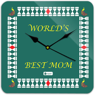 Indigifts Gift For Mother Wall Clock MDF Green 11x11 inches