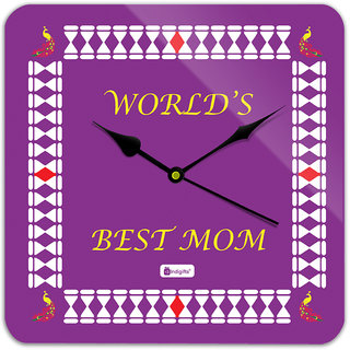 Indigifts Gift For Mother Wall Clock MDF Purple 11x11 inches