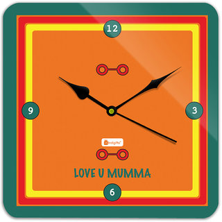 Indigifts Gift For Mother Wall Clock MDF Orange 11x11 inches