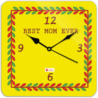 Indigifts Gift For Mother Wall Clock MDF Yellow 11x11 inches