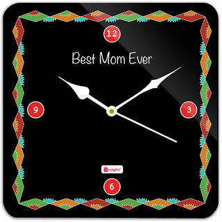 Indigifts Gift For Mother Wall Clock MDF Black 11x11 inches
