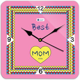 Indigifts Gift For Mother Wall Clock MDF Pink 11x11 inches