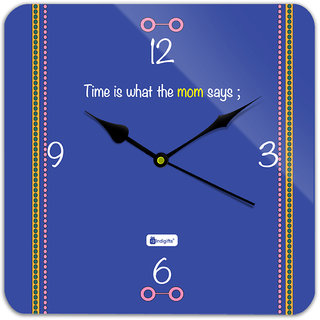 Indigifts Gift For Mother Wall Clock MDF Blue 11x11 inches