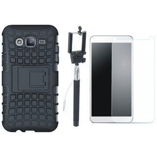 Oppo F1s Defender Tough Hybrid Shockproof Cover with Free Selfie Stick and Tempered Glass