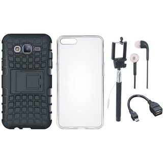 Oppo F1s Shockproof Tough Armour Defender Case with Silicon Back Cover, Selfie Stick, Earphones and OTG Cable