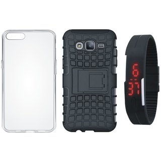 Oppo A71 Shockproof Tough Armour Defender Case with Silicon Back Cover, Digital Watch