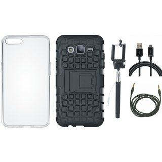 Oppo A71 Shockproof Tough Armour Defender Case with Silicon Back Cover, Selfie Stick, USB Cable and AUX Cable