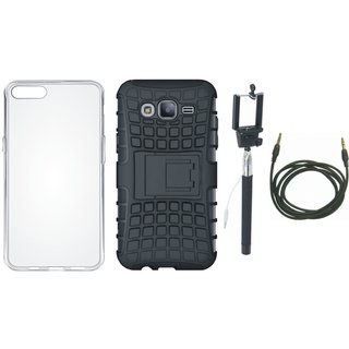 Oppo A71 Shockproof Tough Armour Defender Case with Silicon Back Cover, Selfie Stick and AUX Cable